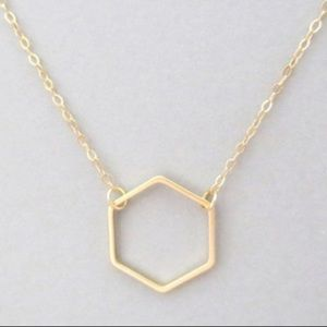 Hexagon Dainty Gold Necklace Pendant NWT